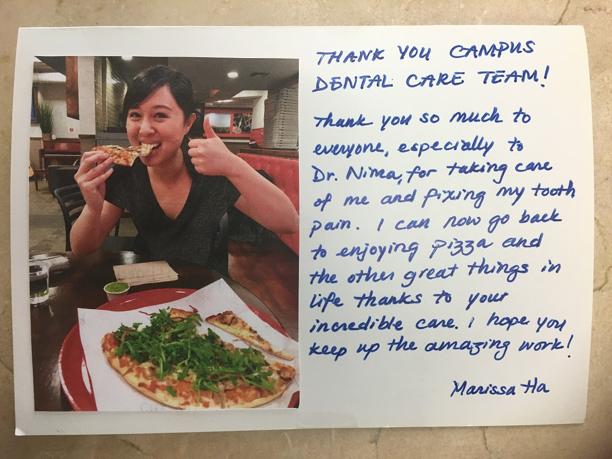 Thank you Campus Dental Care Team